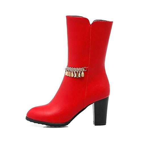 AllhqFashion Mujeres Sólido Tacón ancho Cremallera Caña Baja Botas con Colgantes Rojo