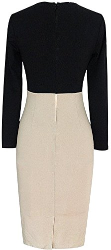 to Wear Women's LunaJany Sheath Neck Work V Blocked Chic and White Beige Dress Color R0nwgY6n
