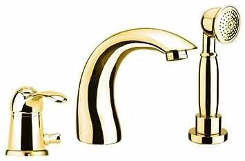 3 fori rubinetto vasca da bagno oro 24 carati per bordo vasca o