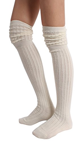 STYLEGAGA Winter Slouch Top Over The Knee High Knit Boot...