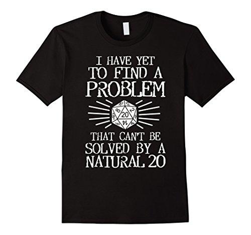 Mens Problem Solved Natural 20 T-Shirt. Board Game RPG Role Play Medium (Black Dragon Sleeve Shirt)