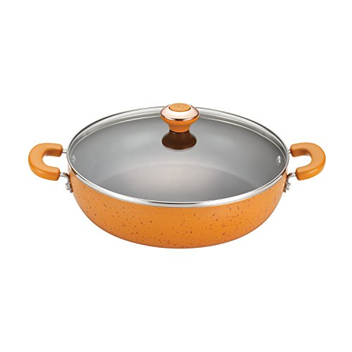 Porcelain Nonstick 12-Inch Covered Chicken Fryer, Orange Speckle ()