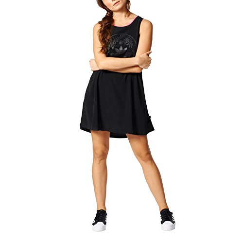 - adidas Originals Women Los Angeles Collegiate A-line Short Crepe Swing Dress (XS/S) Black