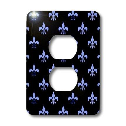 3dRose lsp_21616_6 Blue Fleur De Lis on A Black Background Christian Symbol 2 Plug Outlet Cover