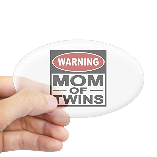 CafePress Mom of Twins Oval Sticker Oval Bumper Sticker, Euro Oval Car Decal