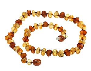 "Amberbeata Multi-color ""Raw Beauty"" Certified *100% Genuine* Raw Baltic Amber Teething Necklace for Baby, Baby Gifts"