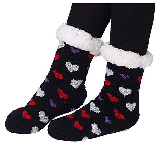 Marlong Women Sherpa Heart Deer Lined Knit Festive Winter Warm Soft Non-slip Fleece Slipper Socks (1 Pair, 02 Black) (Size Lined Plus Stockings)