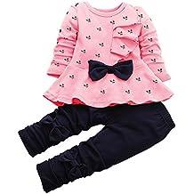 CM-Kid Little Girl Outfits Heart Pant Sets Bowknot Top & Pants Toddler 2pcs Suit