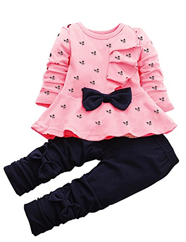 Cute Spring Clothes (CM-Kid Cute Baby Girl Outfit 2pcs Heart Bowknot Long Sleeve Top and Legging Set (M, Pink)