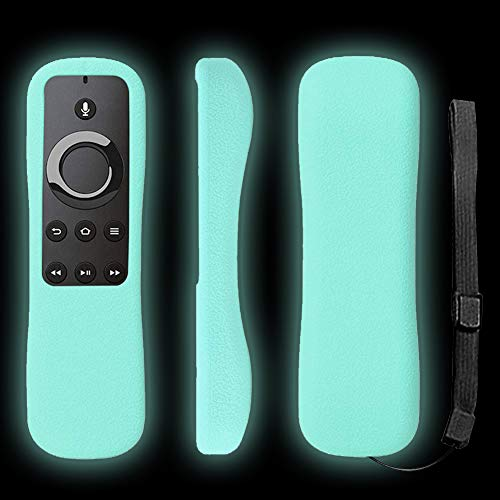 Fire TV Remote Case SIKAI Shockproof Anti-Lost Protective Silicone Cover for 5.9'' Amazon Fire TV and Fire TV Stick Remote with Alexa Voice Skin-Friendly with Remote Loop (Glow in Dark Blue)