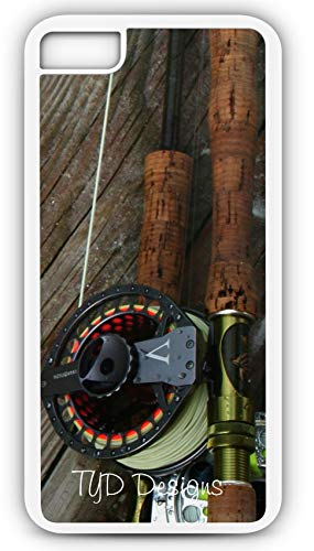 iPhone 6s Case Fly Fishing Rod Reel Pole Trout Stream Creek Waders Hip Boots Customizable by TYD Designs in White Rubber