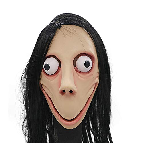 coolwild Halloween Mask Scary Death Game MOMO Horrible Style Female Ghost Wig Mask for Halloween Costume Party]()