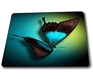 (3D Big blue butterfly Wallpaper) gaming mouse pad and HD Print custom mouse pads 9*7.5 inch