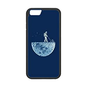 Astronaut Mowing the Moon iPhone 6 Plus 5.5 Inch Cell Phone Case Black DIY GIFT pp001_8940280