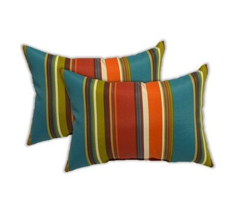 Indoor Accent - Set of 2 Indoor Outdoor Rectangle Lumbar Decorative Accent Throw Toss Pillows, Teal, Orange, Red, Green Stripe - Choose Size (11