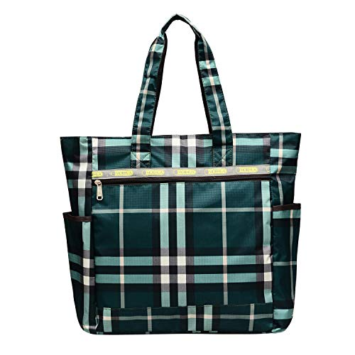 Nylon Large Lightweight Tote Bag Shoulder Bag for Gym Hiking Picnic Travel Beach Waterproof Tote Bags (BluePlaid)