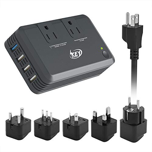 Key Power Step Down 220V to 110V Voltage Converter and International Travel Adapter, 100V to 240V Dual Voltage Power Strip, Quick Charge 3.0 USB - [Use for USA Appliance -