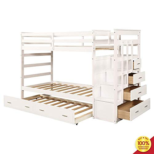 MOOSENG, Solid Wood Kids and Teenagers, Hardwood Twin Bed with Trundle and Staircase Drawer Bunk, Fashionable White (White Bunk Beds With Stairs And Trundle)