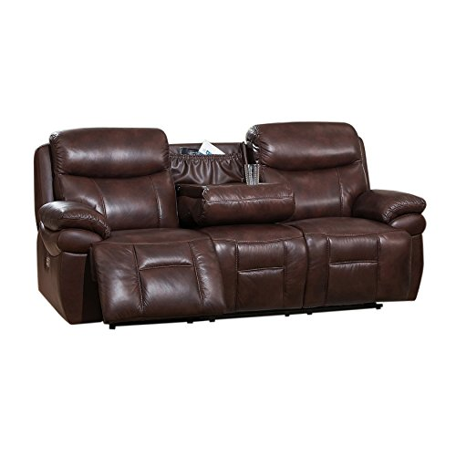 Amax Leather Summerlands Power Headrest Reclining Sofa, Brown