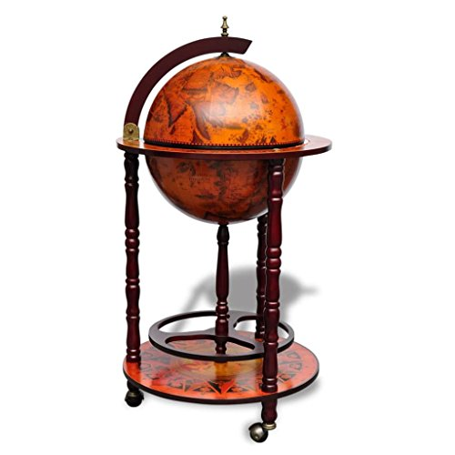 vidaXL 40 Wood Globe Wine Bar Stand 16th Century Italian Rack Liquor Bottle Shelf