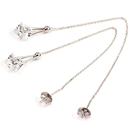 (FC JORY White Gold GP Square Thread Threader CZ Crystal Dangle Drop Chain Earring)