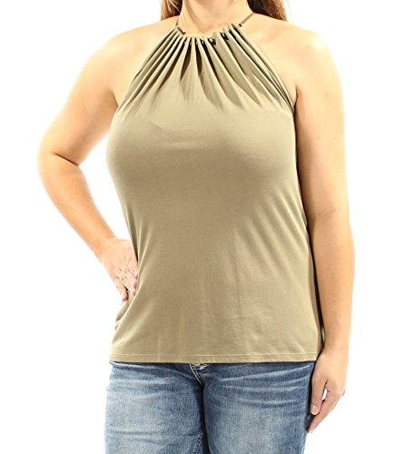 Lauren Ralph Lauren Womens Beaded Keyhole Halter Top Green XL -