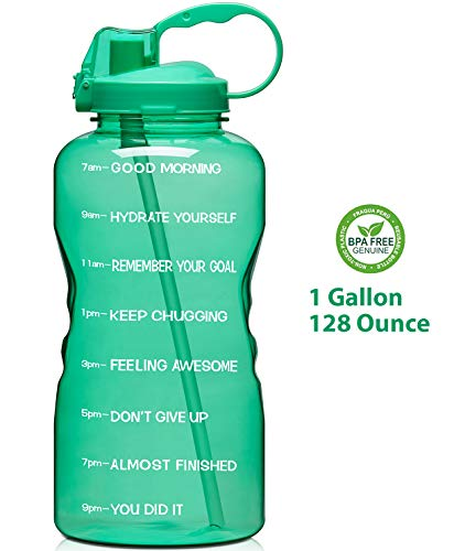- Giotto Large 1 Gallon/128oz Motivational Water Bottle with Time Marker & Straw, Leakproof Tritan BPA Free, Ensure You Drink Enough Water Daily for Fitness, Gym and Outdoor Sports-Green