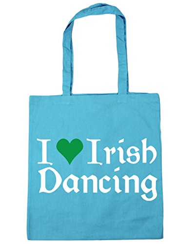 HippoWarehouse I Love Irische Tanzende Einkaufstasche Fitnessstudio Strandtasche 42cm x38cm, 10 liter - Surfen Blau, One size
