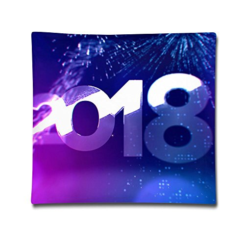 Square Throw Pillow Case New Year Decorative Soft Pillow Cover Sets Cushion Case For Sofa Bedroom Car 18 X 18 ()
