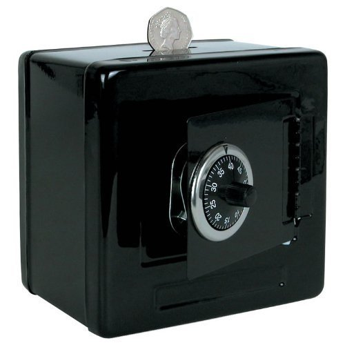 Metal Money Box ~ Dual Movement Combination Code Lock ~ Cubed Cool BLACK