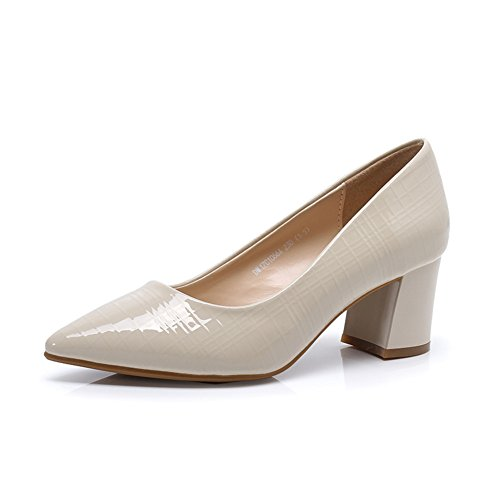 Korean shoes with high with thick with shallow in spring/Nude Shoes-A Foot length=22.3CM(8.8Inch)