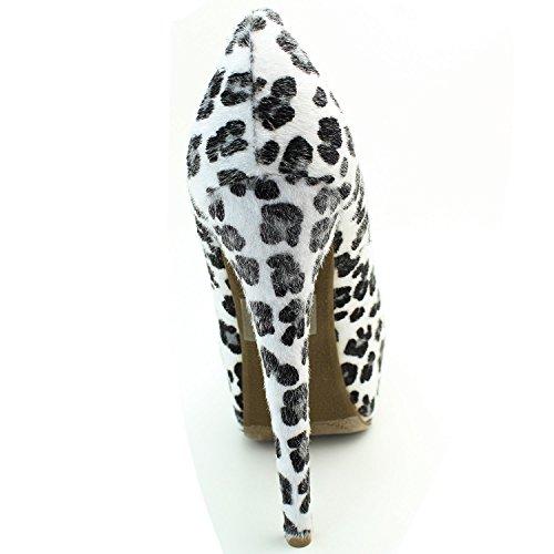 Femmes Extrême Haute Couture Pointe Toe Plate-forme Cachée Sexy Talon Haut Talon Pompe Chaussures Poney Cheveux