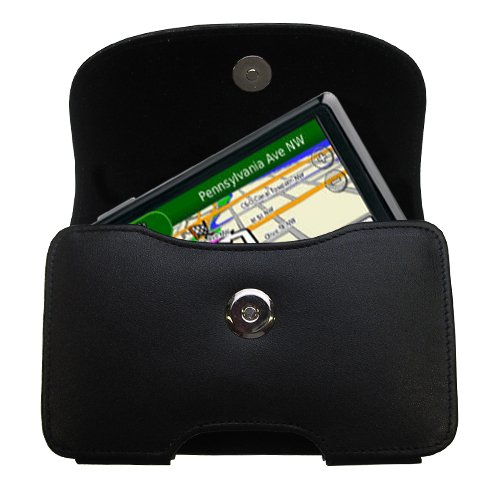 - Gomadic Brand Horizontal Black Leather Carrying Case for the Garmin Nuvi 1390T with Integrated Belt Loop and Optional Belt Clip
