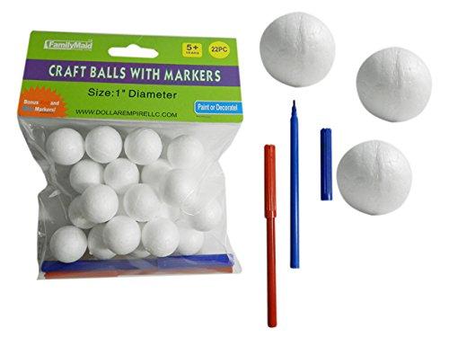 20PC Craft Balls, 1'' Dia 2 Bonus Markers Included! , Case of 96