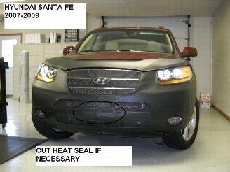 (Lebra 2 Piece Front End Cover Black - Car Mask Bra - Fits - Hyundai Santa Fe 2007-2009)