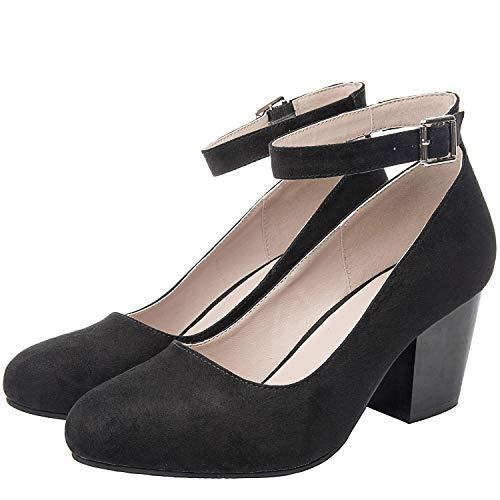 Luoika Women's Wide Width Heel Pump Shoes - Ankle Buckle Strap Round Closed Toe Dressing Shoes.(Black 180320,10.5WW) (Heels Black Microfiber)