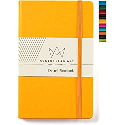 "Minimalism Art | Classic Notebook Journal, Size: 5"" X 8.3"", A5, Yellow, Dotted Grid Page, 192 Pages, Hard Cover/Fine PU Leather, Inner Pocket, Quality Paper - 100gsm 