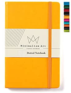 Minimalism Art | Classic Notebook Journal Size: 5 X 8.3 A5 Yellow Dotted Grid Page 240 Pages Hard Cover/Fine PU Leather Inner Pocket Quality Paper - 80gsm | Designed in San Francisco