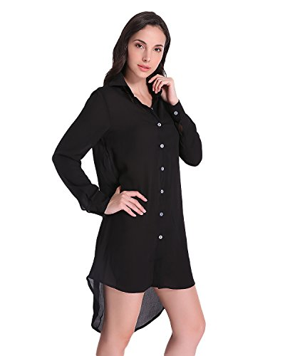 Auxo Mujer Blusas Larga Mini Vestidos V Cuello Camisas Manga Larga Elegante Casual Tops Negro