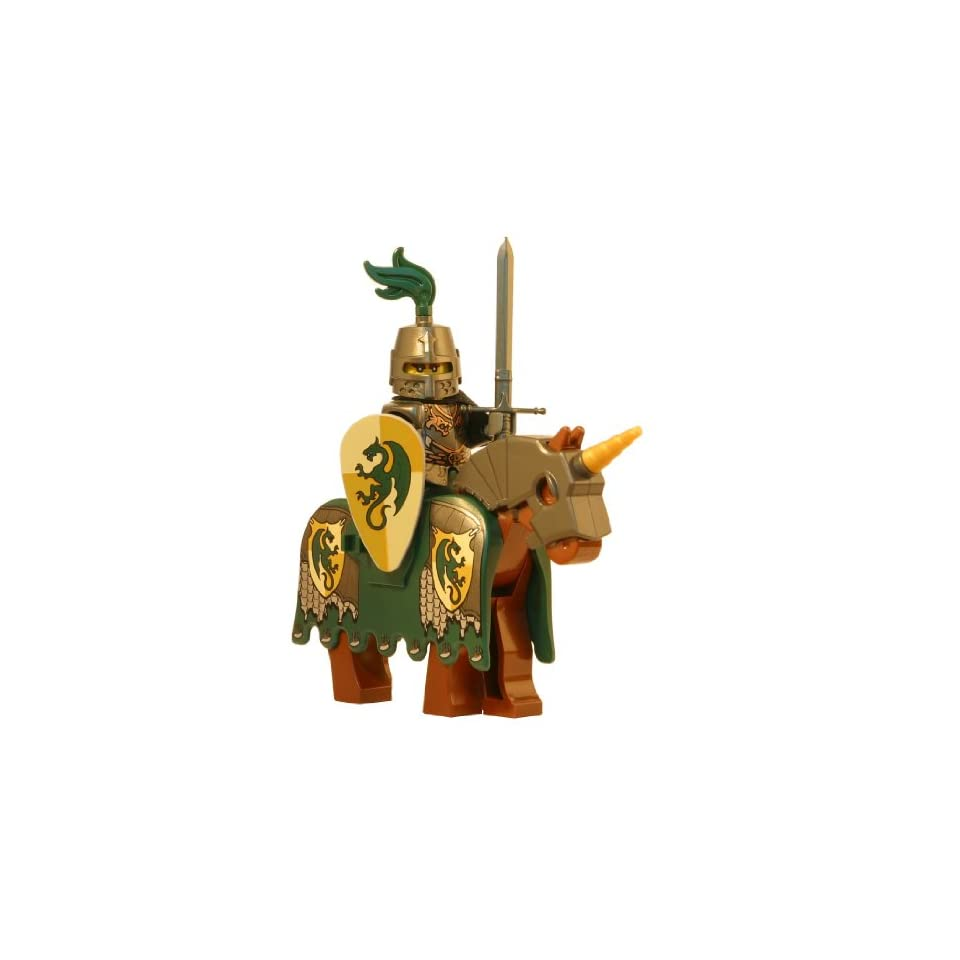 LEGO Dragon Knight with Armored Horse (Medieval Templar)   LEGO Kingdoms Castle Minifigure Full Armor and Claymore Sword