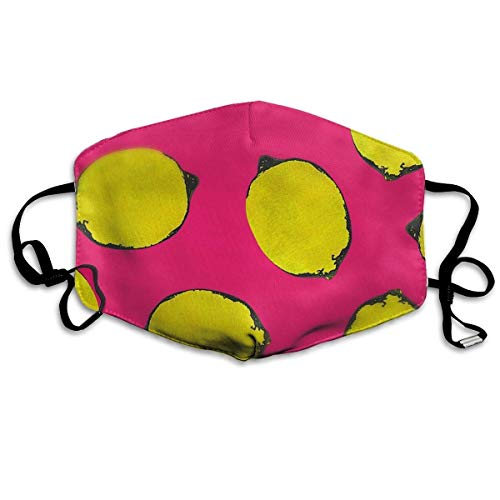 Anti-Bacterial Face Mouth Cover Mask - Warm Reirator Lemon Yellow Pink Print Earloop Mask ()