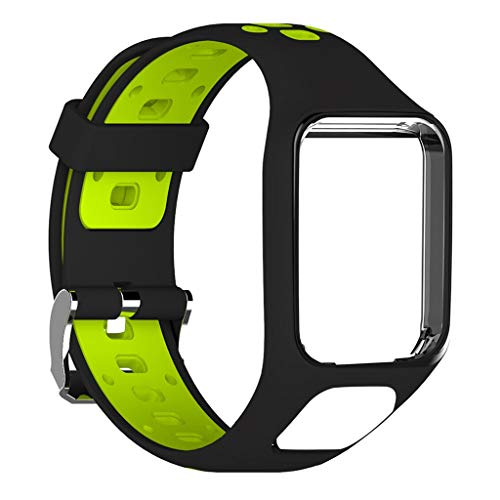 Junlai Compatible with for Tomtom Replacement Silicone Band Strap Adventurer / Golfer2/Runner 3 Watch (Green)
