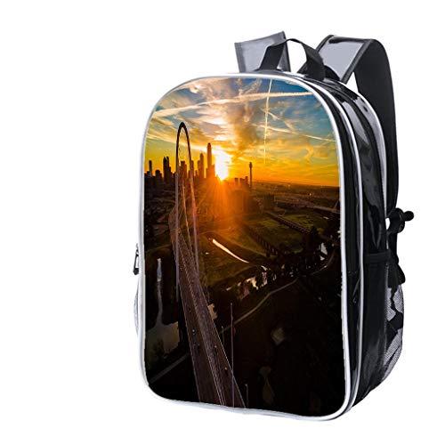 High-end Custom Laptop Backpack-Leisure Travel Backpack Dallas Texas Golden Sunrise Over Margaret Hunt Hill Bridge Water Resistant-Anti Theft - Durable -Ultralight- Classic-School-Black ()