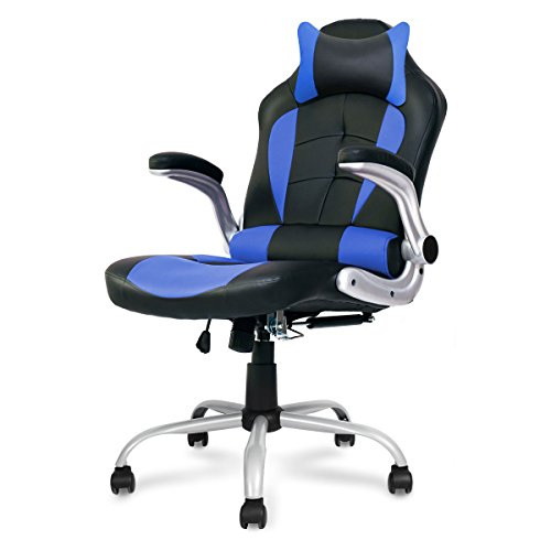 Executive Swivel Leather Gaming Office Chair - Racing Style High-back Office Computer Chair With Lumbar Support and Headrest - Blue)