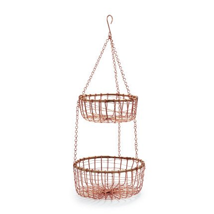 Sur La Table Two-Tier Hanging Rose-Gold Wire Basket