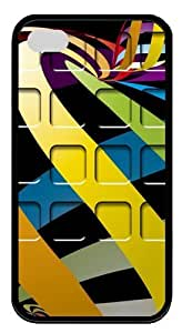 Colorful Docking Frame TPU Black Case for iphone 4S/4