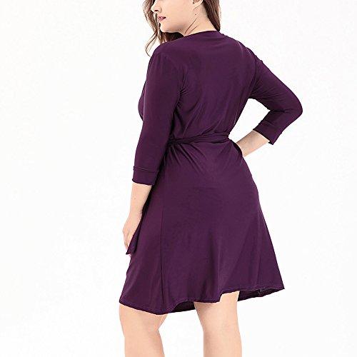 Zhxinashu Taille Plus Profonde Coupe Ample Robe Midi Plage Décontractée V-cou (xl-6xl) Violet