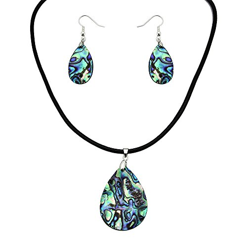 Falari Green Abalone Necklace Earring Set Black Leather Cord Tear Drop S0055 -
