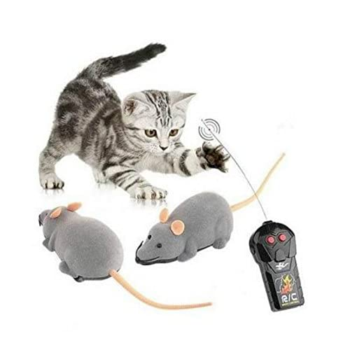 Mini RC Wireless Remote Control Electronic Rat Mouse Mice Toy For Cat Dog Pet Grey