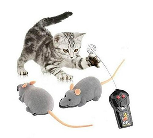Mini RC Wireless Remote Control Electronic Rat Mouse Mice Toy For Cat Dog Pet (Grey)
